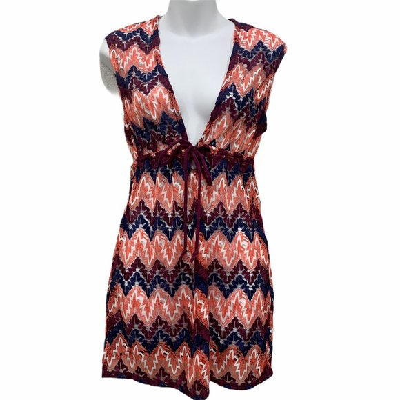 NEW Miken Marshmallow Wine Crochet Trim Swimwear Tunic Cover Up L Large